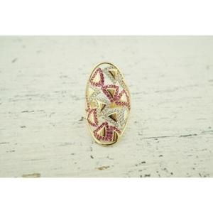 Jewelry - Womens 14K Yellow Gold Cocktail Ring White and Red
